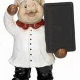 "Woodland 35537 P/R Pig Chef/Chalk Board 19""H, 15""W"