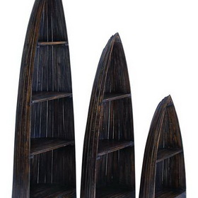 Woodland 37724 Wooden Boat with Distinctive Design in Brown Finish - Set of 3