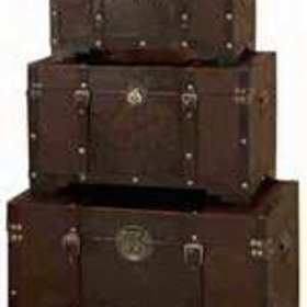 Woodland 39408 Set/3 Old Time Classic Leather N Wood Chest Trunk, Price/set