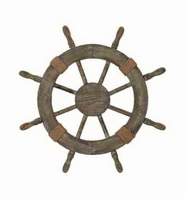 "Woodland 41262 25"" Antiqued Wood Shipwheel With Rope Knot Nautical"