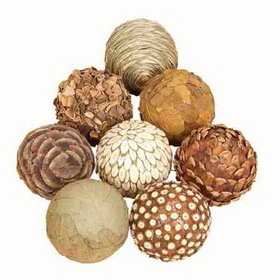 "Woodland 42950 4"" D Set/6 Natural Decorative Bambbo Wood Balls, Price/set"