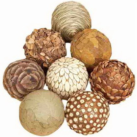 "Woodland 42951 3"" D Set/8 Natural Decorative Jungle Wood Balls, Price/set"