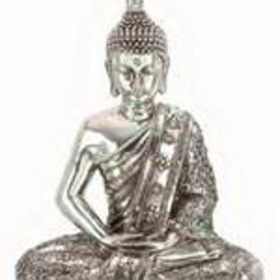 "Woodland 44175 12"" Silver Buddha Meditating Peace Statue Sculpture"