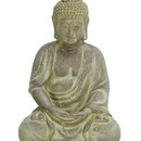 Woodland 50809 Fiber Clay Buddha in Sitting Pose with Antiqued Yellow Finish