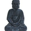 Woodland 50810 Durable Fiber Clay Buddha Glanced with Antiqued Black Finish