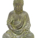 Woodland 50812 Finely Detailed Fiber Clay Buddha in Antiqued Yellow Finish