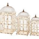 Woodland 55184 Metal Bird Cage Bright White Finish - Set of 3