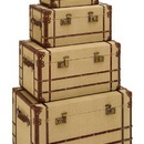 Woodland 62261 Old Look Burlap Travel Steamer Trunk Set