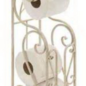 Woodland 63148 Shabby White Metal Toilet Paper Holder W Magazine Rack