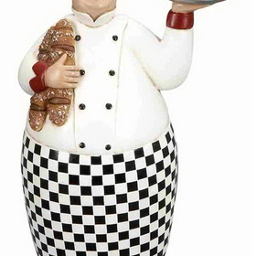 "Woodland 69720 12"" French Fat Chef With Serving Tray And Bread"