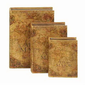 Woodland 72739 Large Set /3 Atlas Manor Leather Faux Book Boxes
