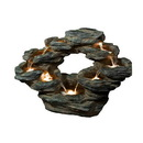 Benzara ALP-WIN1002 22 Inch Tiered Rock Cascading Fountain With Led Lights