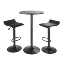 Winsome 20313 Obsidian 3pc Pub Set, Round Table with 2 Airlift Stools all Black