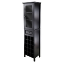 Winsome 20667 Burgundy Wine Cabinet 15-Bottle, Glass Door