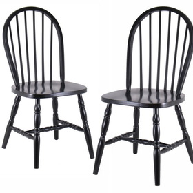 Winsome 29237 Wood Set of 2 Windsor Chairs with curved legs