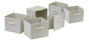 Winsome 82611 Wood Capri Set of 6 Foldable Beige Fabric Baskets