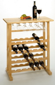 Winsome 83024 Wood 24-Bottle Wine Rack with Glass Rack