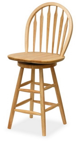"Winsome 89624 Wood 24"" Windsor Swivel Stool, Single, RTA"
