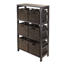Winsome 92051 Granville 7pc Storage Shelf with 6 Foldable Baskets, Espresso