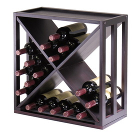 "Winsome 92104 Wood Kingston Modular ""X"" Cube holds 24-Bottle, Stackable"