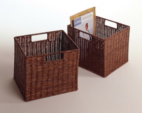Winsome 92211 Wood Set of 2, Wired Basket, Small