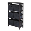 Winsome 92251 Capri 3-Section M Storage Shelf with 6 Foldable Black Fabric Baskets