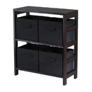 Winsome 92261 Capri 2-Section M Storage Shelf with 4 Foldable Black Fabric Baskets