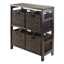 Winsome 92361 Granville 5pc Storage Shelf with 4 Foldable Baskets, Espresso