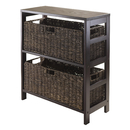 Winsome 92383 Granville 3pc Storage Shelf with 2 Large Baskets, Espresso