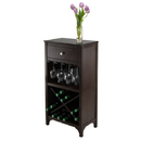 Winsome 92745 Ancona Modular Wine Cabinet with One Drawer, Glass Rack, X Shelf