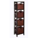 Winsome 92814 Leo 5pc Storage Shelf with Basket Set, Shelf with 4 small baskets