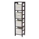 Winsome 92841 Capri 4-Section N Storage Shelf with 4 Foldable Beige Fabric Baskets