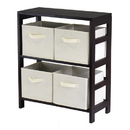 Winsome 92861 Capri 2-Section M Storage Shelf with 4 Foldable Beige Fabric Baskets
