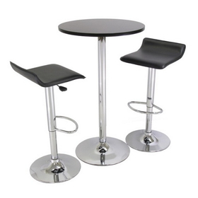 """Winsome 93324 Spectrum 3pc Pub Table Set, 24"""" Round Black table with Chrome, 2 Airlift Stool"""