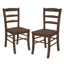 Winsome 94232 Set of 2 Ladder Back Chair, RTA, Antique Walnut