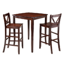 Winsome 94337 Inglewood 3-Pc High Table with 2 Bar V-Back Stools