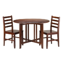 Winsome 94356 Alamo 3-Pc Round Drop Leaf Table with 2 Hamilton Ladder Back Chairs