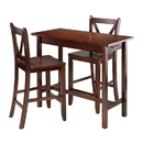 Winsome 94364 3-Pc Kitchen Island Table with 2 V-Back Stool