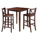 Winsome 94378 Kingsgate 3-Pc Dining Table with 2 Bar V-Back Chairs