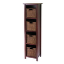 Winsome 94411 Milan 5pc Storage Shelf with Baskets; Cabinet and 4 Small Baskets; 3 cartons