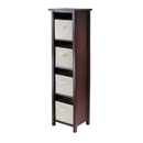 Winsome 94861 Verona 4-Section N Storage Shelf with 4 Foldable Beige Color Fabric Baskets