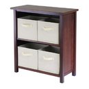 Winsome 94871 Verona 2-Section M Storage Shelf with 4 Foldable Beige Fabric Baskets