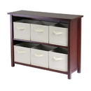 Winsome 94891 Verona 2-Section W Storage Shelf with 6 Foldable Beige Fabric Baskets