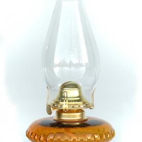 "W.T. Kirkman No. 107 Bracket Oil Lamp, Amber Glass, 12"" Overall Height"