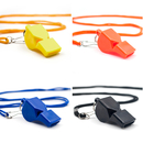 GOGO Set of 4 Plastic Whistles w/ Lanyard, Classic Pea-Less Sport Whistle, Safety Whistle