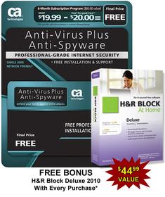 Computer Associates AVPS7BPCCTD1E Ca Antivirus Plus Software - 6 Month Subscription. Bonus, Free H&R Block At Home Deluxe