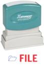 Xstamper 2028 2-Color Pre-Inked Title Stamp reads:
