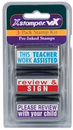 Xstamper 35206 VX, Teacher Stamps, Kit 2, 'Teacher Assisted - 'Review & Sign' - 'Please Review'