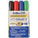 Xstamper 47386 (ASSORTED) EK-519 Artline Dry Safe Whiteboard Markers 4PK, 2.0-5.0mm