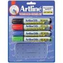 Xstamper 47422 (ASSORTED) EK-519 Artline Dry Safe Whiteboard Markers 4PK with Eraser , 2.0-5.0mm